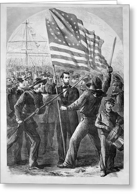 U S Presidents Greeting Cards - President Lincoln holding the American Flag Greeting Card by War Is Hell Store