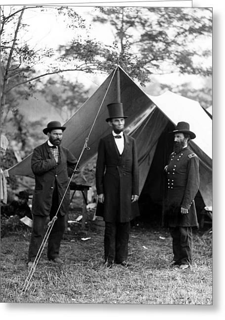 American Politician Photographs Greeting Cards - President Lincoln meets with Generals after victory at Antietam Greeting Card by International  Images