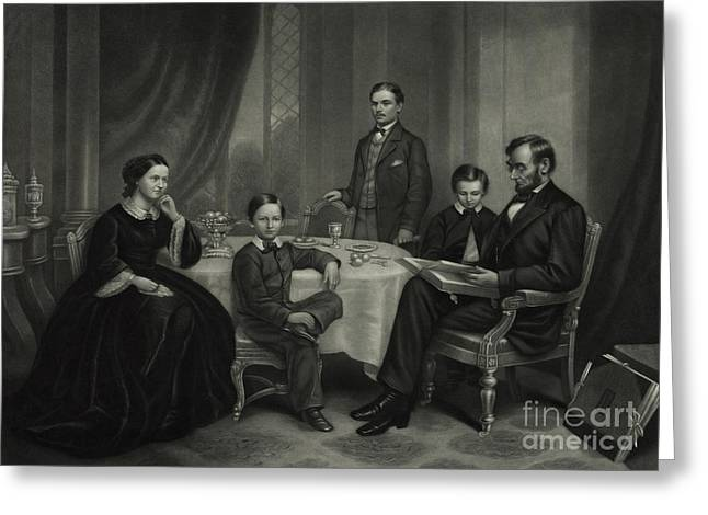 President Lincoln With His Family, 1861 Greeting Card by Science Source