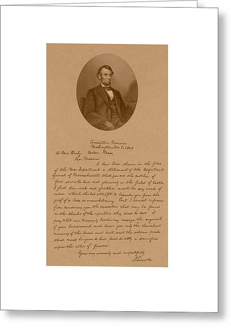 Civil War History Greeting Cards - President Lincolns Letter To Mrs. Bixby Greeting Card by War Is Hell Store