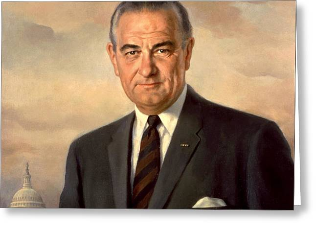 Lyndon Greeting Cards - President Lyndon Baines Johnson Greeting Card by Celestial Images