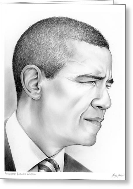 President Obama Greeting Cards - President Obama Greeting Card by Greg Joens