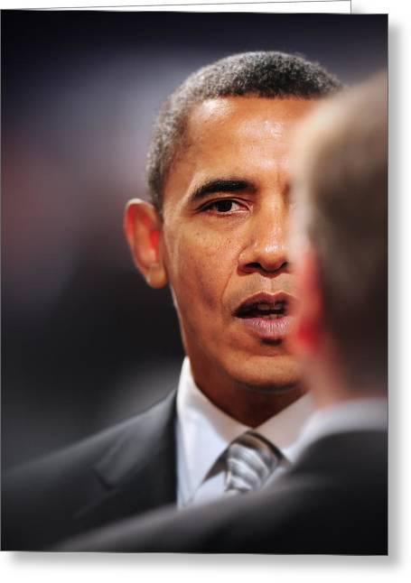 President Obama Photographs Greeting Cards - President Obama Ii Greeting Card by Rafa Rivas