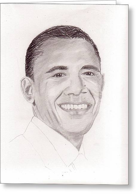 President Obama Greeting Cards - President Obama Greeting Card by Pat Moore