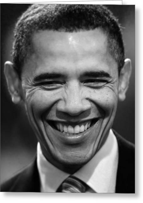 President Obama Photographs Greeting Cards - President Obama V Greeting Card by Rafa Rivas