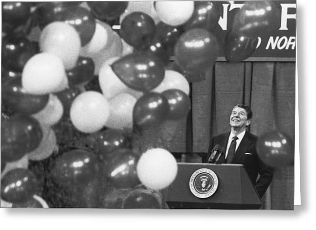 Republican Greeting Cards - President Reagan and Balloons Greeting Card by Matt Plyler