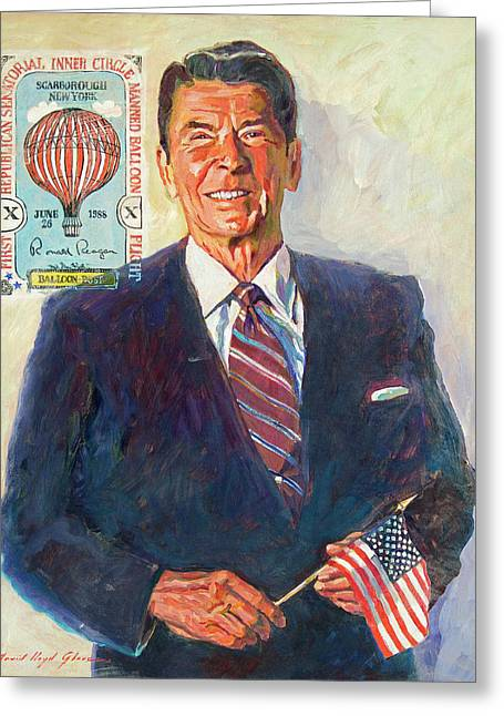 Hot Air Greeting Cards - President Reagan Balloon Stamp Greeting Card by David Lloyd Glover