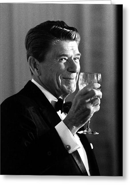 President Reagan Making A Toast Greeting Card by War Is Hell Store
