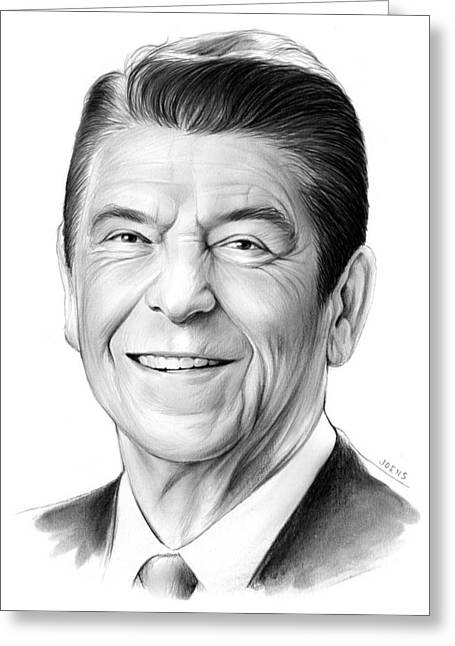 Republican Drawings Greeting Cards - President Ronald Reagan Greeting Card by Greg Joens