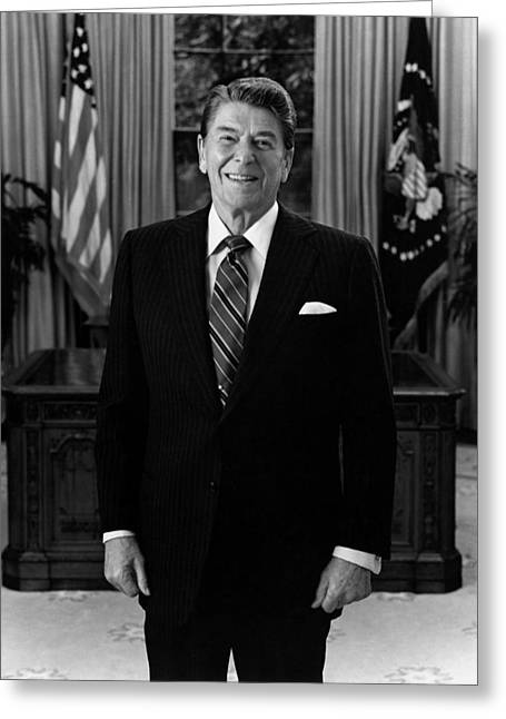 Republican Greeting Cards - President Ronald Reagan In The Oval Office Greeting Card by War Is Hell Store