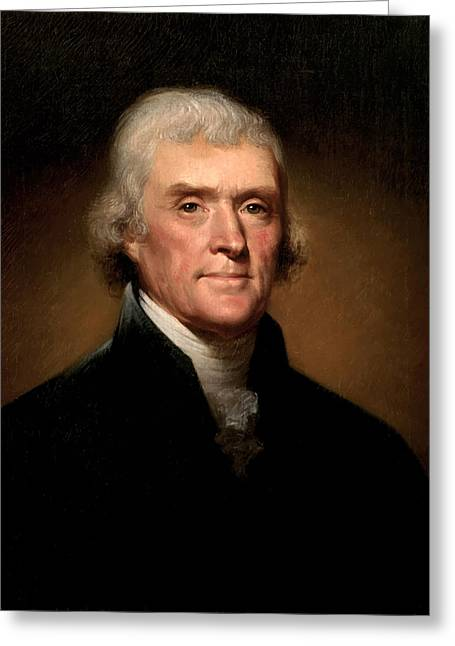 Usa Greeting Cards - President Thomas Jefferson  Greeting Card by War Is Hell Store