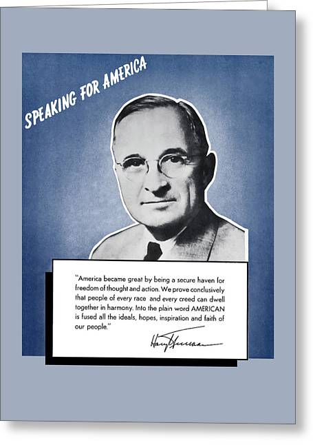 President Truman Speaking For America Greeting Card by War Is Hell Store