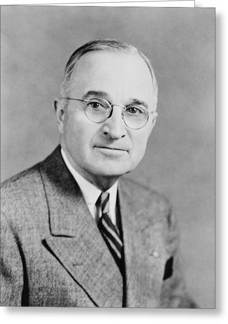 Vice Presidents Greeting Cards - President Truman Greeting Card by War Is Hell Store