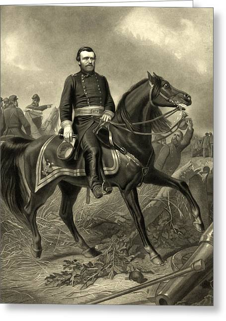 American Politician Greeting Cards - President Ulysses S Grant - horseback Greeting Card by International  Images