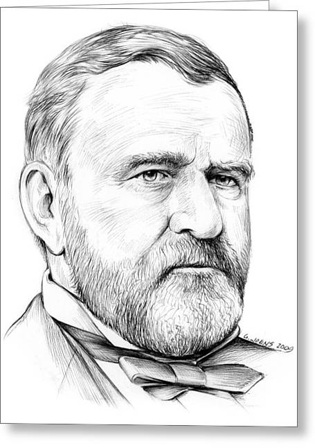 Us Presidents Drawings Greeting Cards - President Ulysses S Grant Greeting Card by Greg Joens