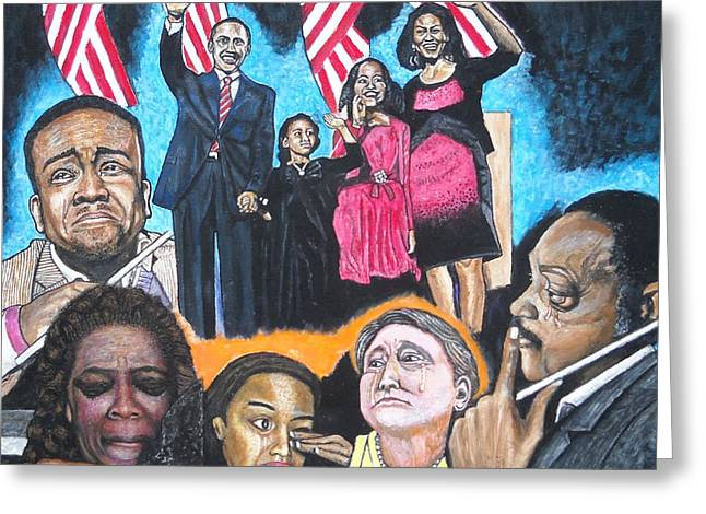 Michelle Obama Paintings Greeting Cards - Presidential election night 2008 Greeting Card by Koffi Mbairamadji