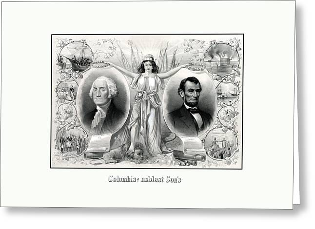 Abraham Greeting Cards - Presidents Washington and Lincoln Greeting Card by War Is Hell Store