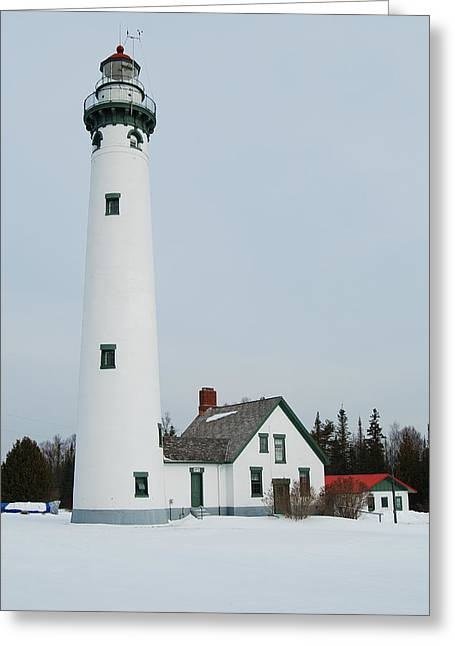 Presque Isle Lighthouse Greeting Card by Michael Peychich