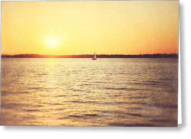 Yellow Sailboats Photographs Greeting Cards - Presque Isle Sunset Greeting Card by Lisa Russo
