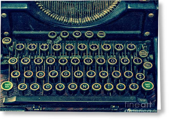 Typewriter Keys Photographs Greeting Cards - Press Any Key Greeting Card by Emily Kay