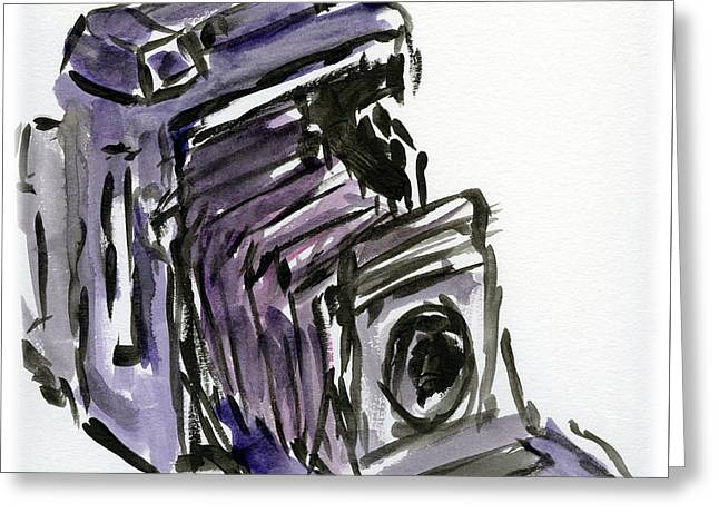 Press Camera Watercolor Greeting Card by Caffrey Fielding