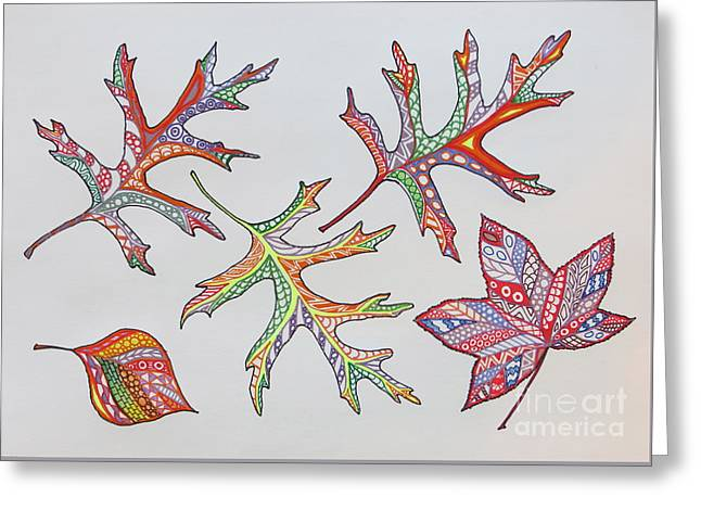 Reds Of Autumn Drawings Greeting Cards - Pressed Leaves Greeting Card by Aimee Mouw
