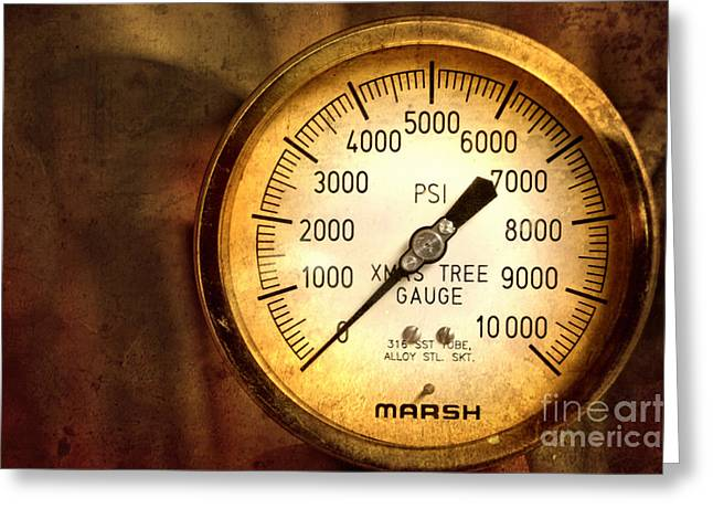 Gauge Greeting Cards - Pressure Gauge Greeting Card by Charuhas Images