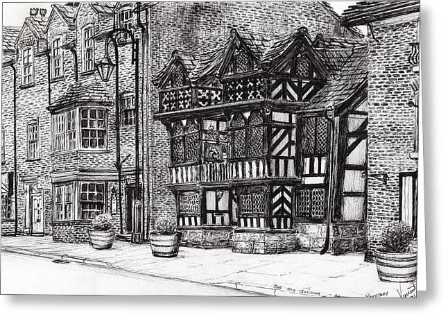 Historic Buildings Drawings Greeting Cards - Prestbury Nat West Bank Greeting Card by Vincent Alexander Booth