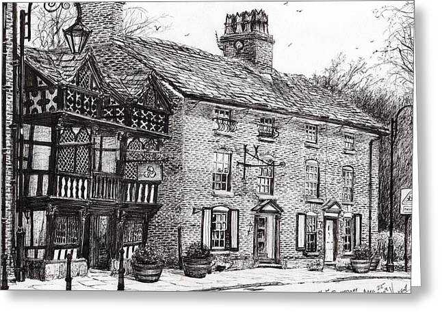 Historic Buildings Drawings Greeting Cards - Prestbury Greeting Card by Vincent Alexander Booth