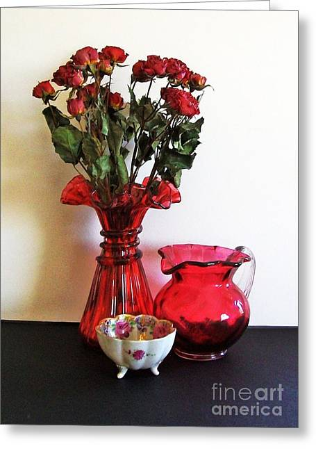 Bowl Of Flowers Greeting Cards - Pretties Glass Decor Greeting Card by Marsha Heiken