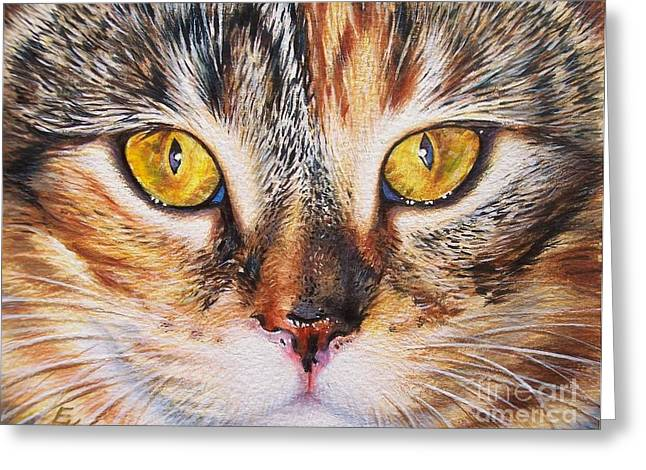 Cat Portraits Greeting Cards - Pretty Alice Greeting Card by Elena Kolotusha