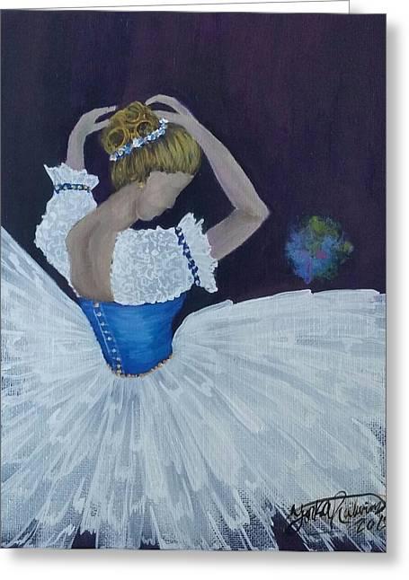 Chiffon Mixed Media Greeting Cards - Pretty Ballerina Greeting Card by Yorka Ralwins