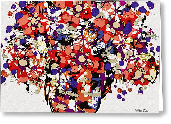 Interior Still Life Mixed Media Greeting Cards - Pretty Bouquet Greeting Card by Natalie Holland