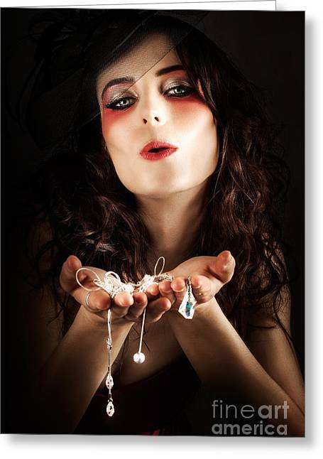 Pretty Elegant Lady Holding Jewelry Necklaces Greeting Card by Jorgo Photography - Wall Art Gallery