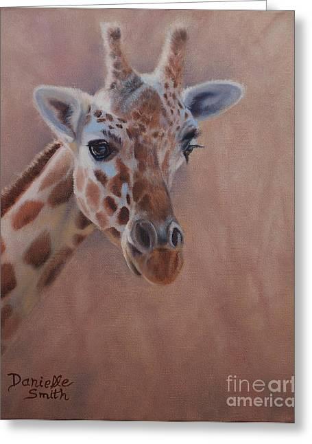 Danielle Smith Greeting Cards - Pretty eyes - Giraffe Greeting Card by Danielle Smith