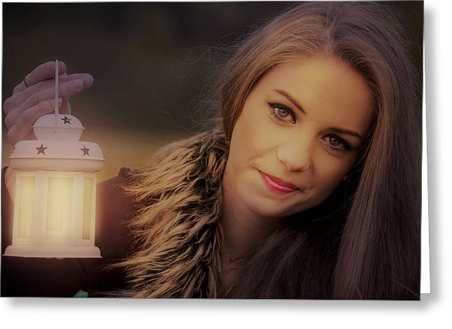 Night Lamp Greeting Cards - Pretty girl with a lantern Greeting Card by Zita Stankova