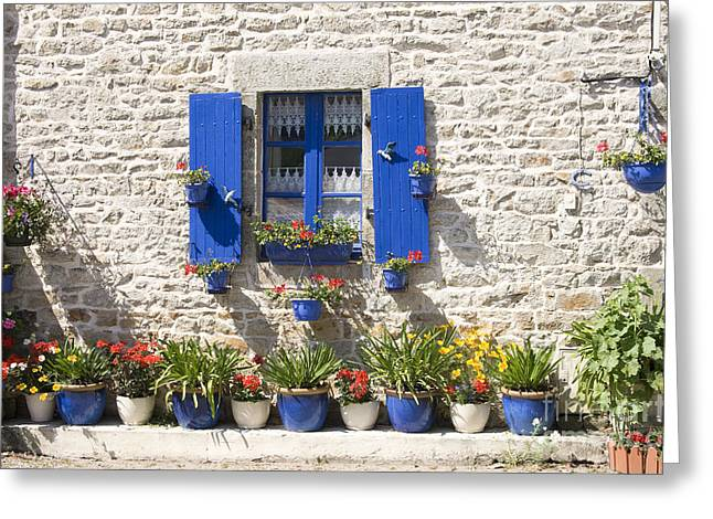 Blue Shutters Greeting Cards - Pretty In Blue Greeting Card by Sophie De Roumanie