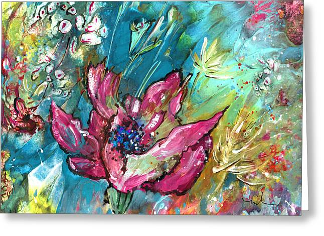 Pretty In Pink Greeting Card by Miki De Goodaboom