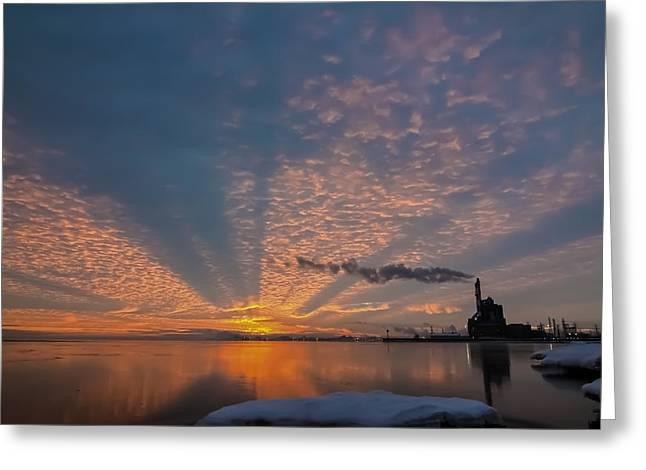 Lake Michgan Greeting Cards - Pretty Industrial Sunrise Greeting Card by Sven Brogren