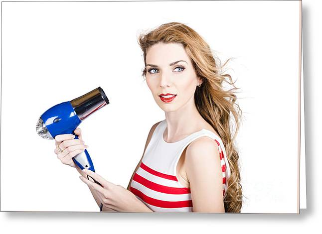 Pretty Lady Getting A Blow Dry Hair Style Greeting Card by Jorgo Photography - Wall Art Gallery