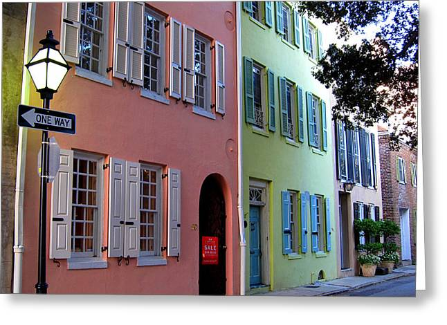 Charleston Houses Greeting Cards - Pretty Lane in Charleston Greeting Card by Susanne Van Hulst