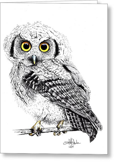 Nocturnal Animal Print Greeting Cards - Pretty Little Owl Greeting Card by Isabel Salvador