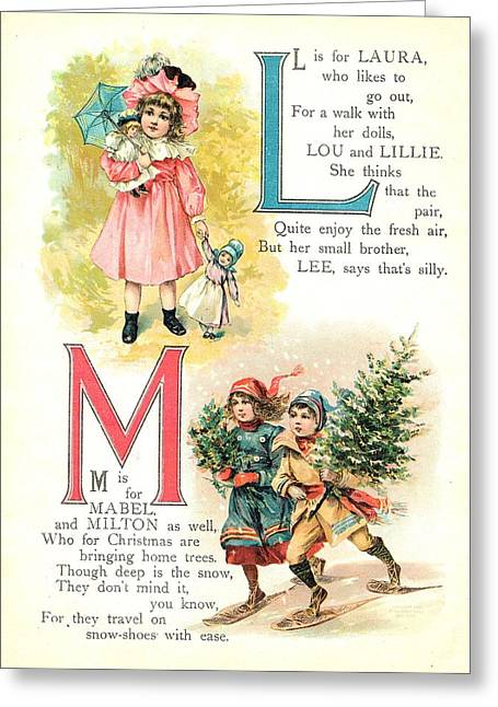 Jack And Jill Greeting Cards - Pretty Names ABC L and M Greeting Card by Reynold Jay