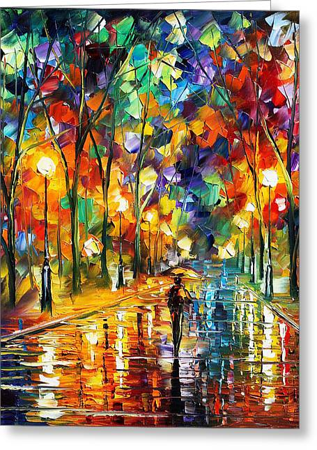 Pretty Night - Palette Knife Oil Painting On Canvas By Leonid Afremov Greeting Card by Leonid Afremov