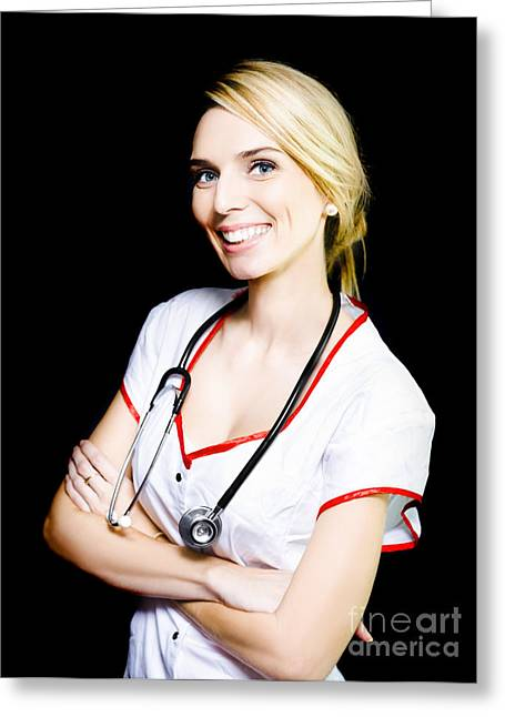 Positive Attitude Greeting Cards - Pretty nurse smiling at a recovering patient Greeting Card by Ryan Jorgensen
