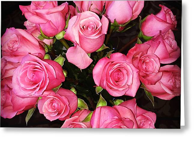 Bouquet Of Roses Greeting Cards - Pretty Pink Roses Greeting Card by Carol Groenen