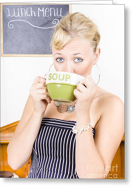 Pause Greeting Cards - Pretty retro woman drinking hot cup of soup Greeting Card by Ryan Jorgensen