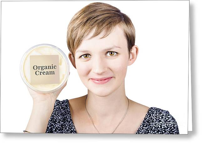 Pretty woman holding a tub of Organic Cream Greeting Card by Ryan Jorgensen