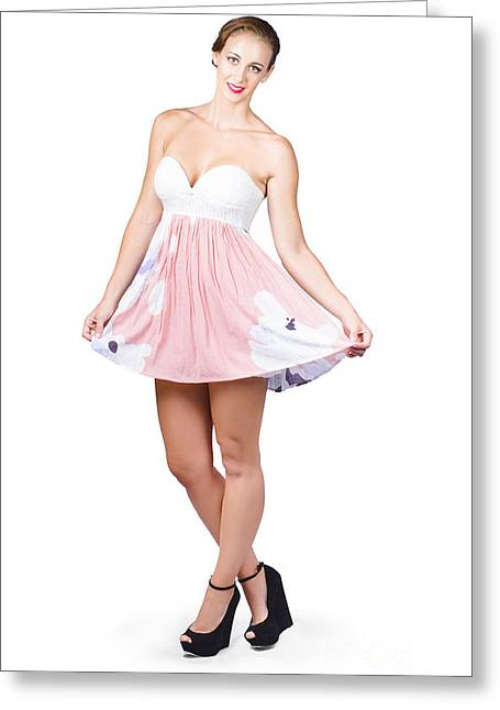 Women Only Greeting Cards - Pretty woman in curtsy pose wearing pink dress Greeting Card by Ryan Jorgensen