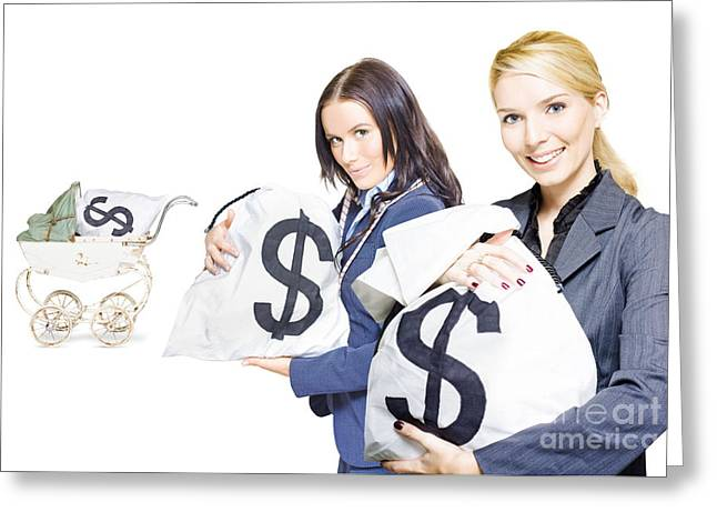 Speculation Greeting Cards - Pretty young business women holding sacks of money Greeting Card by Ryan Jorgensen